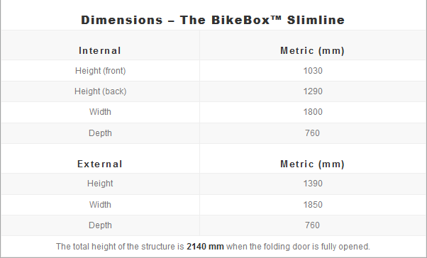 BikeBox slimline - dimensions