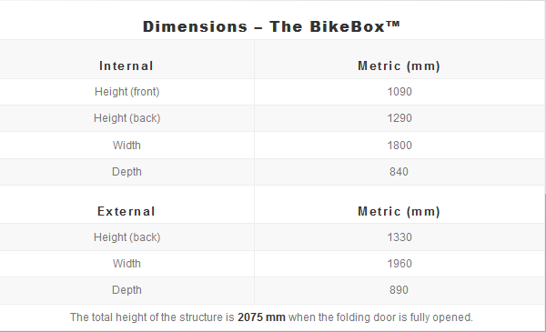 BikeBox - dimensions