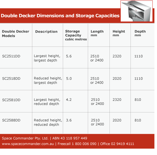 Double decker storage dimensions