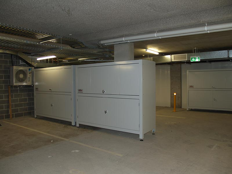 large storage unit for basement parking